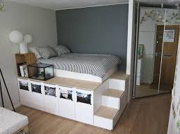 Diy Bed Platform Platform Bed With Storage Made From Kitchen Cabinets Diy