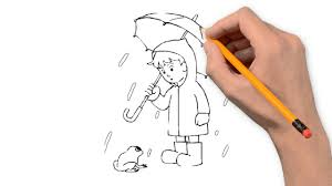 rain nature pencil to draw step by step youtube