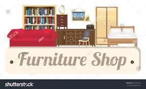 Room And Board Desk Chair Furniture Shop Wood Board Sofa Bookcase Stock Vector 373655614