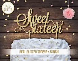 sweet 16 cake topper sweet sixteen cake topper 16 cake topper glitter topper sweet