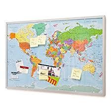 Pin Board Pin Board Bulletin Board Xxl 90x60cm 2 Sided World Map And Cork