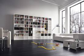 Modern Furniture Shelves by Modern Library Decor With White Stained Wooden Bookcase With White
