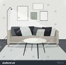 modern minimalistic scandinavian style home interior stock vector