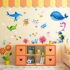 popular ocean wall sticker buy cheap ocean wall sticker lots from colorful fish shark ocean wall stickers vinyl decal mural kid s room decor china
