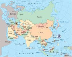 asia political map asia and south pacific political map major tourist
