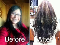 partial red highlights on dark brown hair from black brown base partial carmel highlights long medium hair