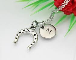 personalized horseshoe personalized horseshoe necklace etsy