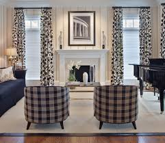 pretty buffalo check curtains in living room contemporary with