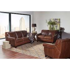 Top Grain Leather Living Room Set Crofton 3 Top Grain Leather Living Room Set