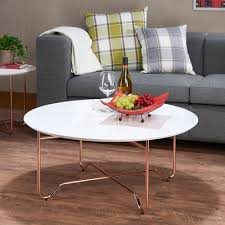 White Rose Furniture Acme Furniture Canty Coffee Table In White And Rose Gold 81860