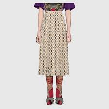 silk skirt silk skirt with web kisses print gucci women s skirts