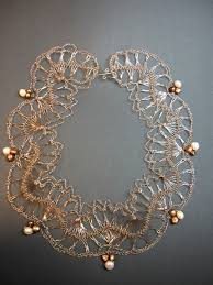 wire lace handmade crochet wire lace necklace with freshwater pearls metal