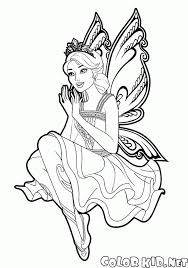 Coloring page  Barbie Mariposa and the ball