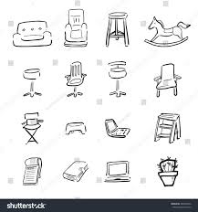 chairs sofa cartoon drawing icons stock vector 485098762