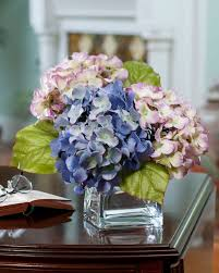 decor interior design with hydrangea arrangements and clear glass