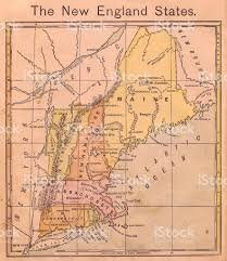 Map Of New England by 1867 Old Color Map Of The New England States Stock Photo 471413457