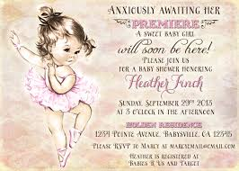 ballerina baby shower invitations vintage ballerina baby shower invitation for girl ballet