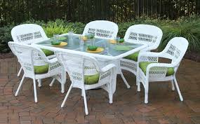 Tortuga Outdoor Portside  Piece  Wicker Dining Set - Outdoor white wicker furniture