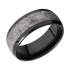 black wedding band men s polished black zirconium wedding band with gibeon meteorite