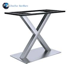 Heavy Duty Brushed Aluminum Folding Table Base X Shape Stainless