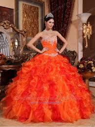 orange quinceanera dresses gown sweetheart floor length organza appliques and beading