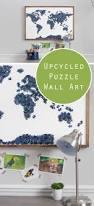 Wohnzimmer Deko Diy Diy Upcycled Puzzle Map Wall Art Wohnzimmerdeko Weltkarte Und Alter