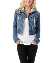 jean sweater jacket thread and supply cropped hooded jean jacket zumiez