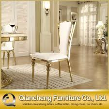 Steel Dining Chairs New Design Modern Golden Stainless Steel Frame Pu Dining Chair