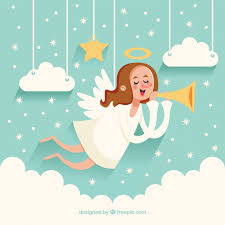 christmas angel christmas angel background with trumpet vector free