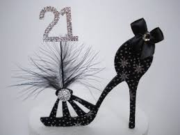 shoe cake topper buy 21st birthday cake topper black silver shoe and