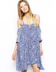 asos dress with cold shoulder detail in paisley print in blue lyst