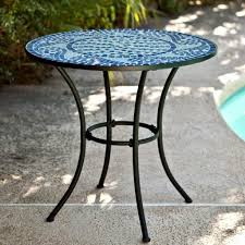 Patio Table Ideas by Exterior Wonderful Round Patio Table With Blue Mosaic Table Top