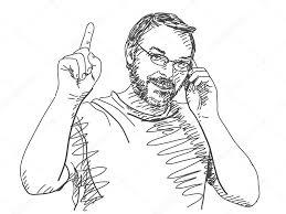 sketch of man talking mobile phone u2014 stock vector olgatropinina