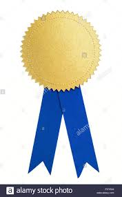 Seal Ribbon Gold Seal Or Medal And Blue Ribbon Isolated Stock Photo Royalty