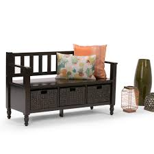 simpli home dakota dark exeter brown storage bench int axcdkt bnch