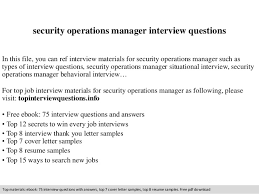 Operations Manager Resume Pdf Security Operations Manager Interview Questions