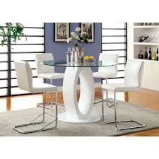 glass counter height table sets lodia white round glass top counter height table set shop for