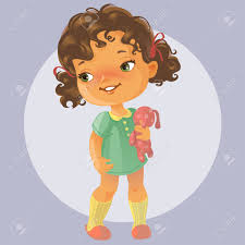 vector portrait of cute little with curly brown hair wearing
