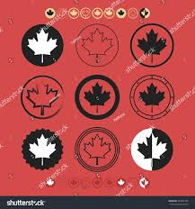 Red White Black Flag Canadian Silhouette Maple Leaf Flag Symbol Stock Vector 285681458