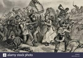 Civil War Battle Flag A Woman In Battle