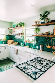 green kitchen tile backsplash boho kitchen reveal the whole enchilada jungalowjungalow