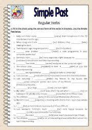 esl worksheets for beginners simple past regular verbs