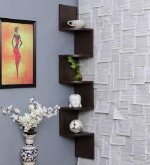 wall shelves pepperfry buy zig zag 5 tier wall shelf in brown finish by decornation online