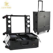 makeup case with lights and mirror rolling studio makeup artist cosmetic case w light leg mirror black