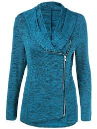zipper up heathered blouse sapphire blue m in blouses