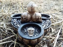 skull candle holder gothic tea light holder home decor