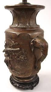 elephant vase ceramic japanese bronze vase with elephant head handles now electrified