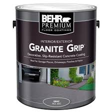 Concrete Step Resurfacing Products by Behr 1 Gal 65001 Gray Granite Grip Interior Exterior Concrete
