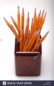 Desk Pencil Holder Number 2 Yellow Pencils In Desk Pencil Holder Stock Photo Royalty