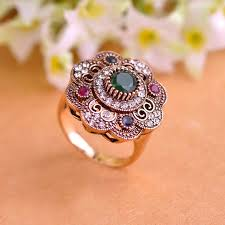 flower emerald rings images Vintage sculpture flowers rings emerald jewelry fashion turkish jpg